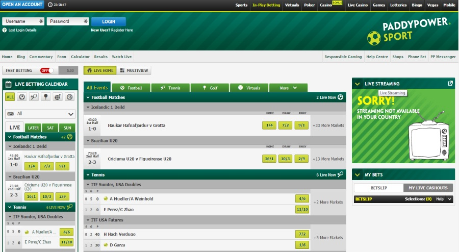 Live Betting at Paddy Power