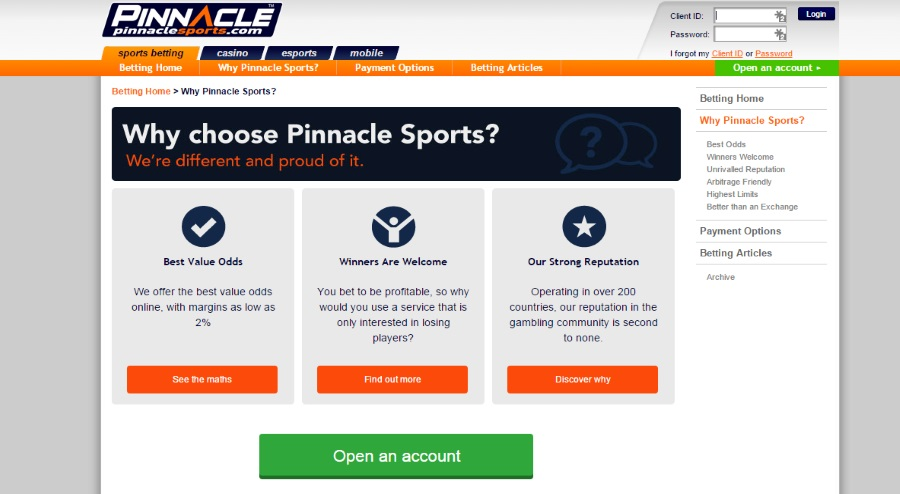 Reasons to choose Pinnacle Sports betting
